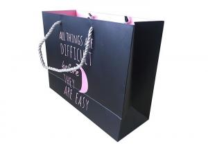 China Customized Size Kraft Paper Shopping Bags With Rope Handles Black Color on sale