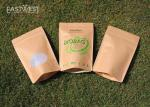 Stand Up Biodegradable Packaging Bags With Compostable Zipper And Window