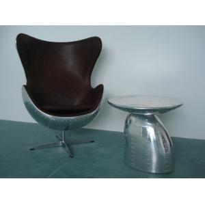 ... Quality Retro Aluminium Metal Aviator Leather Egg Chair Cowhide For Sale