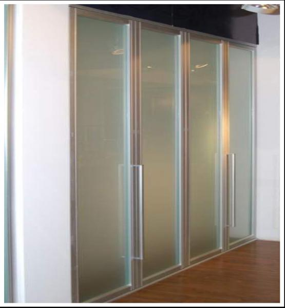 Aluminum Frame Frosted Glass Bi Fold Wardrobe Doors Folding Sliding Door For Closet Images