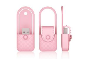 China Pink PVC USB Flash Drive Woman Bag Shape Supports BIOS Booting USB-ZIP USB-HDD on sale