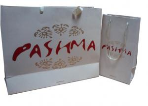 Quality OEM Pashma 210g Art Paper Shopping Bag With Matt Lamination, Logo Stamp for sale