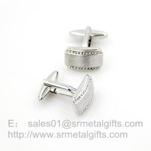 China Satin finish cufflinks with rhinestones, brush finish jewelry cuff links, in stock, on sale