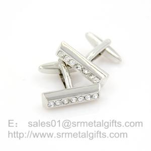 China Retro silver stone cufflinks for business wear, jewelry cufflink inset with rhinestone, on sale