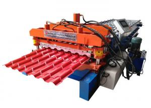 China PPGI Roof Glazed Tile Roll Forming Machine Blue / Orange Color With PLC Control System on sale