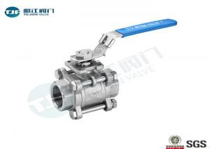 China Three Piece Full Port Ball Valve Stainless Steel 316 Made Threaded Type on sale