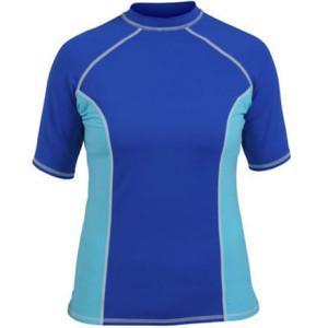 China Sublimation Surf Lycra Rash Guard Women Short Sleeve Blue Nylon on sale
