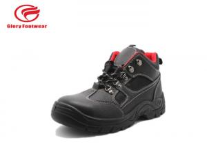 China Red Soft Mesh Rubber Safety Shoes Steel Toe Anti Slip With Breathable Split Leather on sale