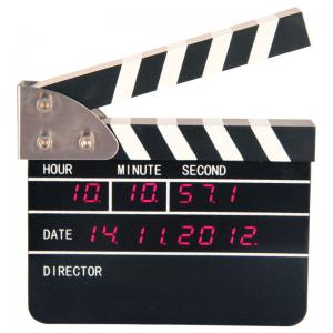 China Movie Clapper Board Clock , Black Electronic Time Clocks on sale