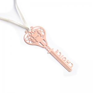 China Hollow Out Key Shape Rose Gold Bookmark / Metal Charm Bookmark Eco Friendly on sale