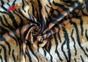 China Tiger Stripe Velboa 100% Polyester Velvet Fabric , Animal Print Faux Fur Fabric on sale