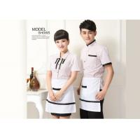 Casual Restaurant Staff Uniform , Short Sleeve Stripe Restaurant Work Shirts