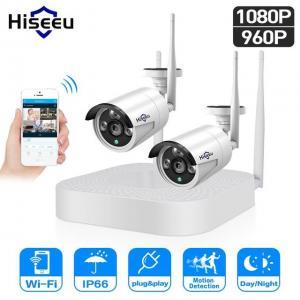 China Wholesale New Hiseeu 4CH 960P/1080P Wireless CCTV camera System wifi 2pcs 1.3MP 2MP waterproof IP camera outdoor securit on sale