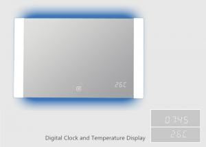 China Dimmable Lighting Touch Screen Bathroom Mirror With Digital Clock Temperature Display on sale