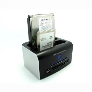 China SuperSpeed USB 3.0 to Dual 2.5/3.5in SATA Hard Drive Docking Station+All in 1 Card reade on sale