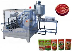 China Ketchup / Tomato Paste Rotary Premade Pouch Packing Machine 1500G With Single Dose on sale