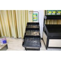 China shopping mall and supermarket Metallic Fruit And Vegetable Rack Display Stands With Label on sale