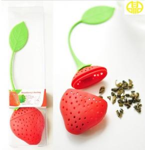 China Durable Red Strawberry Silicone Tea Infuser , Safety Small Silicone Tea Ball on sale