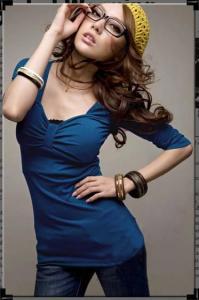 China Wholesale Fashion Three Quarter Sleeve Blue Top Shirt on sale