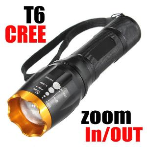 China 2000lm CREE XM-L T6 LED Zoomable Adjustable Falshlight Torch Lamp(18650&AAA) for Camping on sale