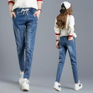 China Supernova Multiple Sizes Womens Tapered Jeans With Elastic Waist Soldier Printed on sale