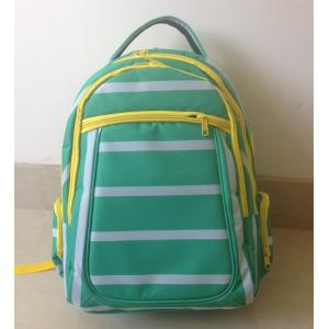 China OEM ODM Green White Polyester Striped High School Backpacks with Laptop Pocket on sale