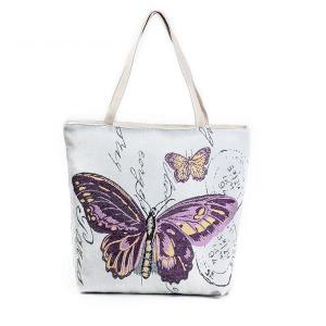 China Butterfly Printed Shoulder Bags for Girls , Tote Shopper Bag on sale