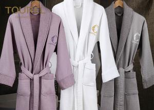 China Custom Logo Hotel Quality Towelling Robes Cotton Plain Dyed Terry For Sleep on sale