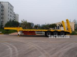 China 60tons excavator transporter low bed trailer 3-axle semi low-loader with excavator recess | CIMC TRAILERS on sale