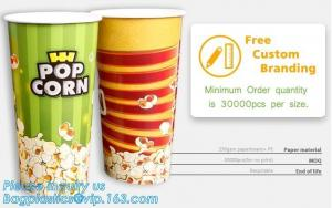 China POPCORN PAPER BOX, POPCORN CUP, CHICKEN BOX, CUSTOM BRANDING,24OZ, 32OZ,46OZ,TAKE OUT PACKAGE, KRAFT PAPER CUP, LID, PAC on sale