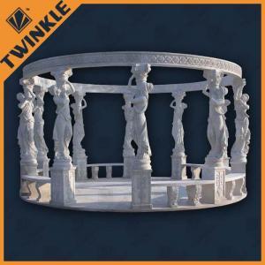 China White Customized Stone Garden Gazebo , Natural Marble Surface Polished on sale