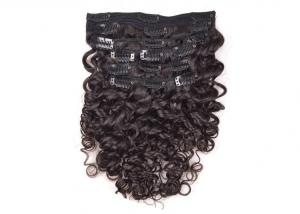 China Lady Clip In Natural Hair Extensions Natural Color Double Machine Weft Long Lasting on sale