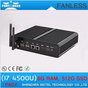 China Fanless Media Player PC Core i7 Mini PC Windows 8.1 2 Nics 2 HDMI SD Card Industrial Deskt on sale