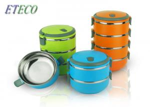 China Reusable Stainless Steel Lunch Containers , Trips Round Bento Lunch Box on sale