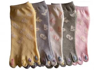 China Cotton + Rubber+ Spandex + Nylon Colorful Five Toe Socks For Infants / Toddlers on sale