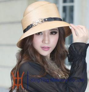 China Khaki / Red Round Crown Polyester Ladies Hats with Leather Band on sale