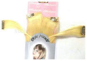 China Golden 100% Human European Straight Real Hair Clip In Hair Extensions 18 inch for women on sale