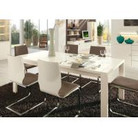 White Gloss 6 Seater Dining Table , Modern Dining Room Tables Strong Structure