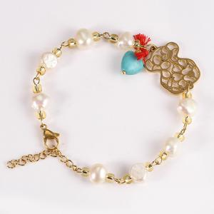 China Customized Stainless Steel Handmade Jewelry Unisex Freshwater Pearl Bracelet on sale