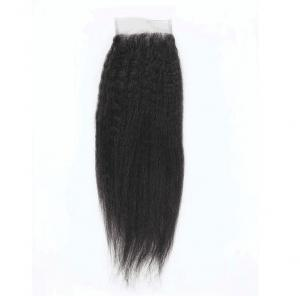 China Smooth Real 100 Human Hair Lace Closure Kinky Straight Customized Length on sale