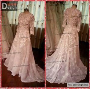 China GD003 Surmount Real Sample Beautiful O Neck High Quality Lace Long Sleeve Evening Dresses on sale