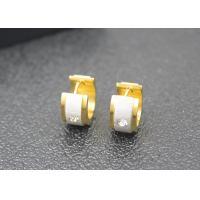 18K Gold Plated Stainless Steel Dangle Earrings Rhinestone Crystal Huggie Hoop