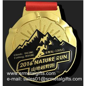 China Gold 10K Running Medal With Color Filled, gold metal medal with enamel on sale