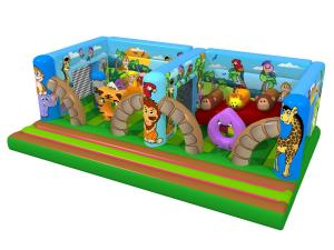 China Big Kids Inflatable Bounce House Animals World Tiger And Palm Trees EN14960 on sale