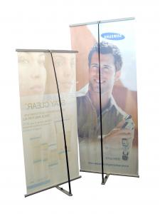 China Portable L Shape Pop Up Banner Displays , Graphic Roll Up Display Banners on sale