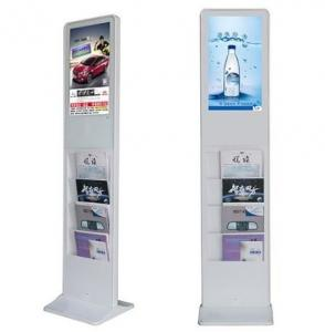 China Black 21.5 Inch Standing LCD Advertising Display with Magazine Newspaper Shelf Android or USB Version on sale
