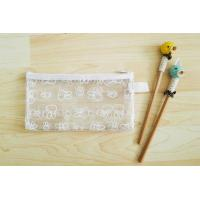 Printed Clear Zipper Pencil Pouch Light Weight With Cute Cartoon Pattern