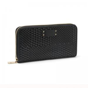 China New Stylish Weave Wallet in Black Single Zip Purse Ladies Carry Bags Emboss Weaving Pattern Card Hold Guangzhou Factory on sale