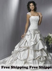 China Free Shipping Vintage A-line Square Elastic Woven Satin Floor-Length Wedding Dresses on sale