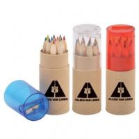 3.5 inch 6pcs natural  colour pencil set with sharpener custom gift mini color pencil